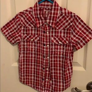 Wrangler Red Plaid Pearl Snap Size 3T